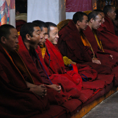 Monks chanting at Drepung Monastery, Lhasa