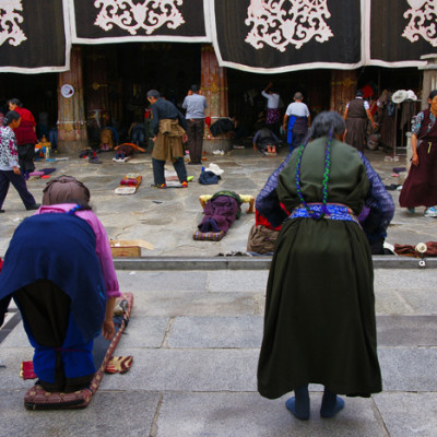 Pilgrims in front of Jokhang Temple, Lhasa