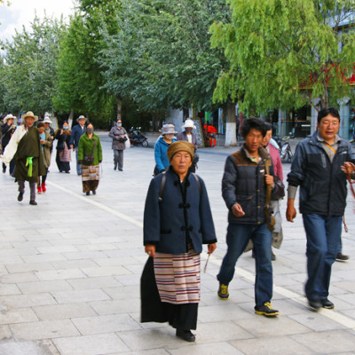Pilgrims walking the kora around Potala Palace