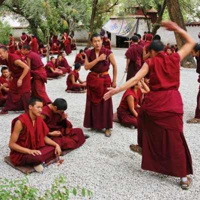 Debating monks at Sera Monastery, Lhasa