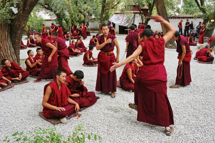 Debating monks at Sera Monastery, Lhasa