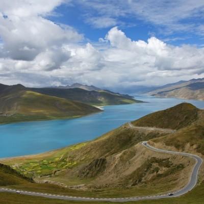 Lake Yamdrok Tso, seen from the Kamba La pass