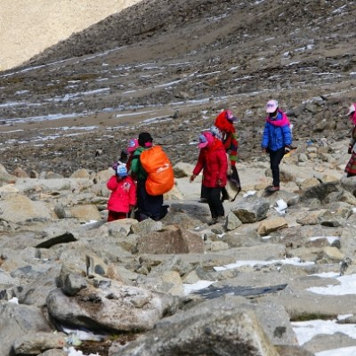 Pilgrims doing the kora around Mount Kailash