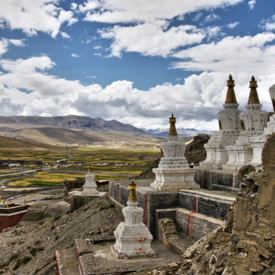 Stupas in the town of Sakya