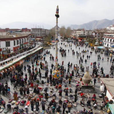 Pilgrims in front of the Jokhang Temple, Lhasa